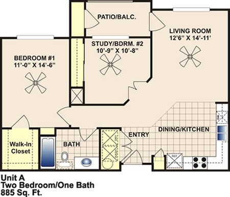 885 sq. ft. A/60% floor plan
