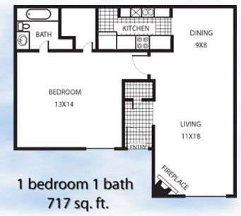 717 sq. ft. 1-1L floor plan