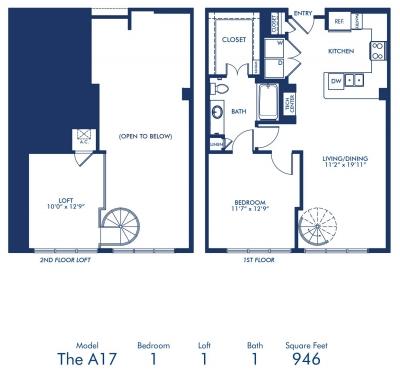 945 sq. ft. A17 floor plan