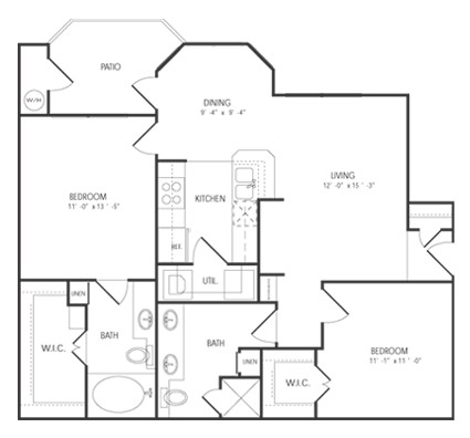 970 sq. ft. Pinehurst floor plan
