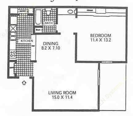 653 sq. ft. A5 floor plan