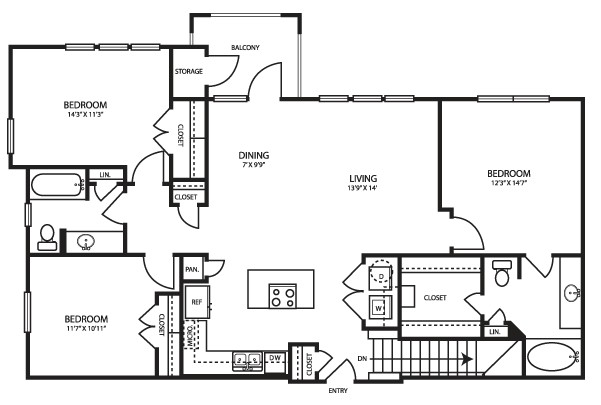 1,377 sq. ft. C13 floor plan