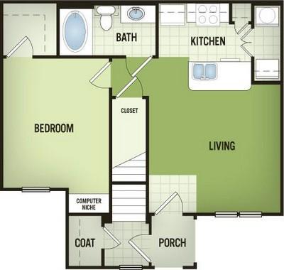 663 sq. ft. A1-G floor plan