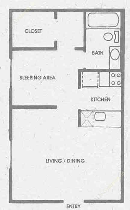 443 sq. ft. A floor plan