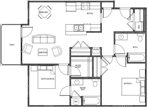1,049 sq. ft. 60% - Blue floor plan