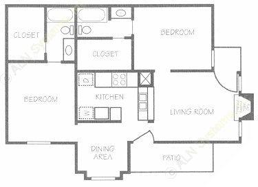 850 sq. ft. E floor plan