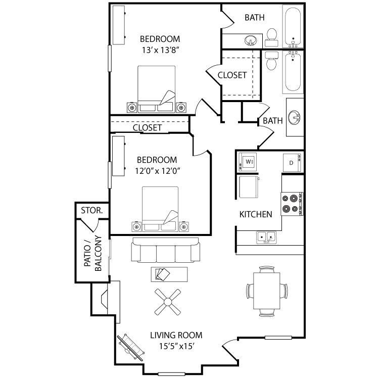 1,125 sq. ft. Magnolia floor plan