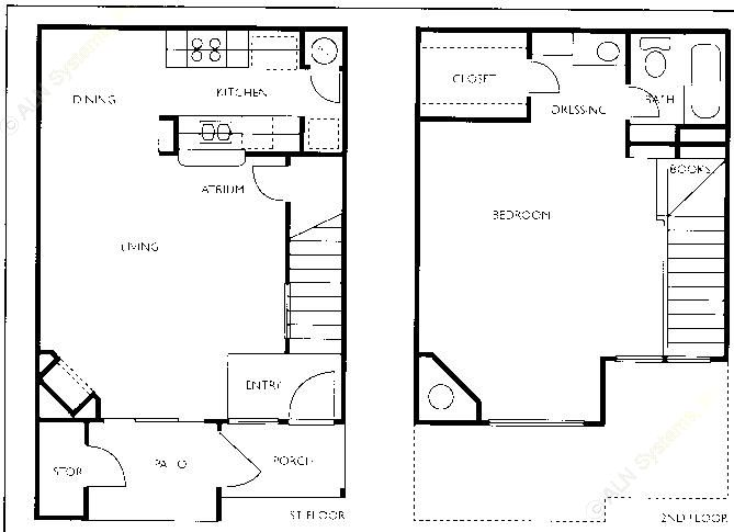 810 sq. ft. A3-TH floor plan