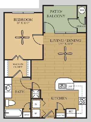 690 sq. ft. A1/Sabine floor plan