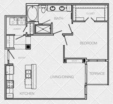 894 sq. ft. to 944 sq. ft. G floor plan