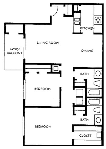 913 sq. ft. J floor plan