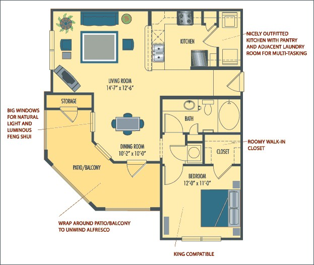 772 sq. ft. Valencia floor plan