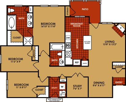 1,396 sq. ft. Aspen (C1) floor plan