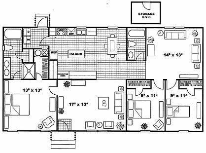 1,421 sq. ft. Camelot floor plan