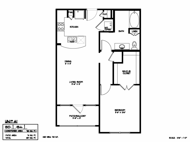 783 sq. ft. A1 floor plan