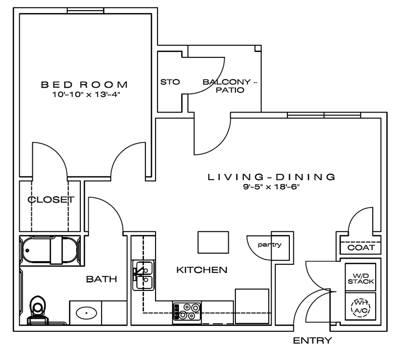 700 sq. ft. Ashton/60% floor plan