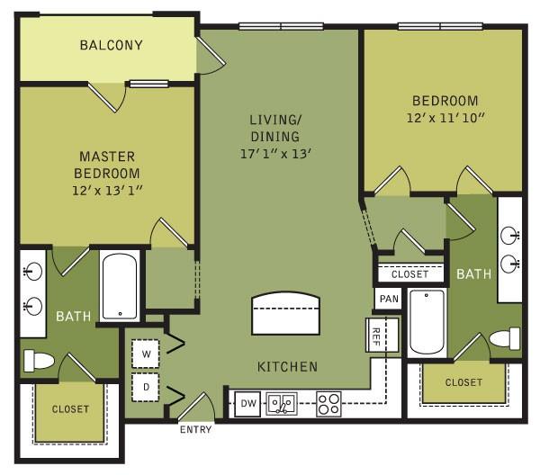1,113 sq. ft. B1ALT (II) floor plan