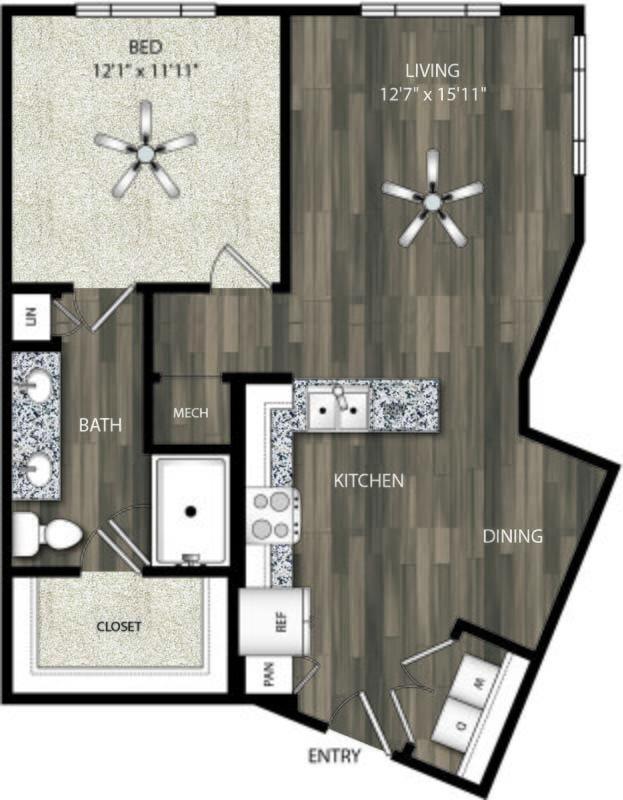 797 sq. ft. A7 floor plan