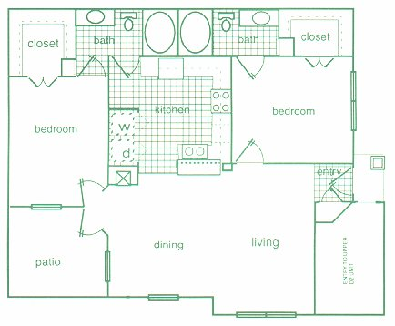 1,097 sq. ft. D1 floor plan