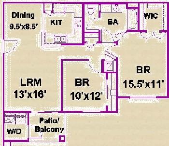 924 sq. ft. E/60 floor plan