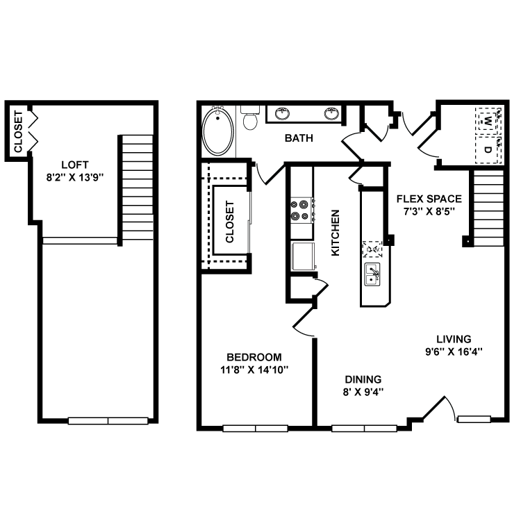 1,071 sq. ft. Louvre floor plan
