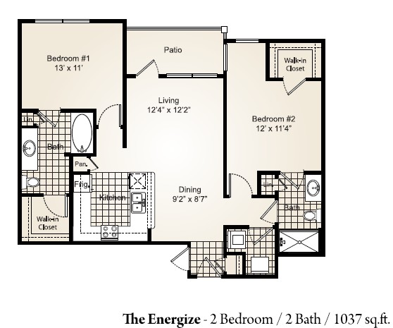 1,037 sq. ft. ENERGIZE floor plan
