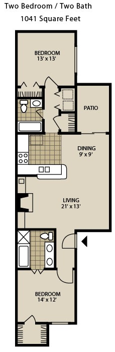 1,041 sq. ft. B4-A floor plan