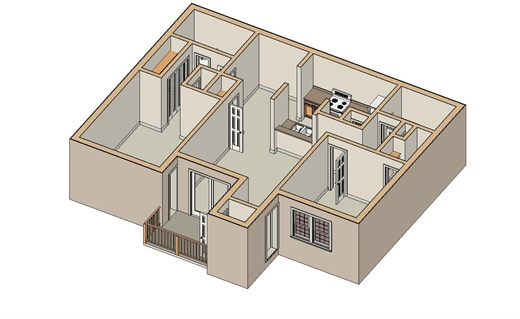 945 sq. ft. B-3 floor plan