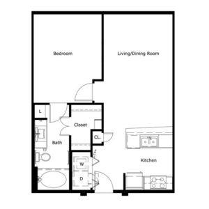 673 sq. ft. floor plan