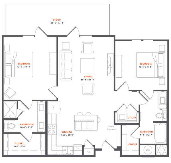 1,109 sq. ft. B1 Ansi floor plan