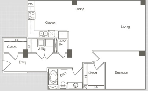 1,074 sq. ft. A9 floor plan