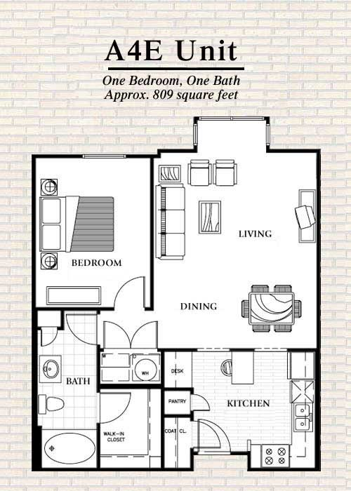 809 sq. ft. to 815 sq. ft. A4 floor plan