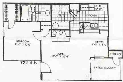 722 sq. ft. 60% A1 floor plan
