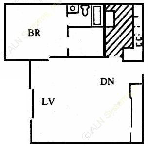 837 sq. ft. H floor plan