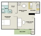 575 sq. ft. Buoy floor plan