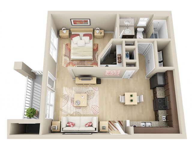 590 sq. ft. A0 floor plan