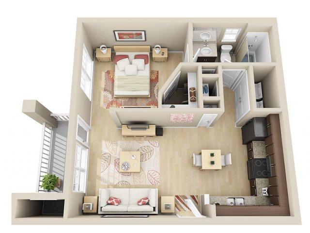 590 sq. ft. A0 floor plan