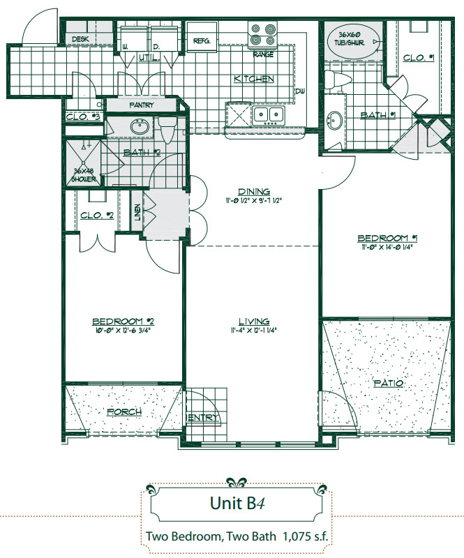 1,075 sq. ft. B4 floor plan