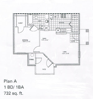 732 sq. ft. A/60% floor plan