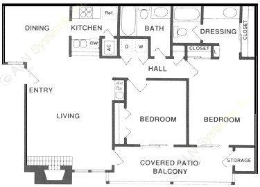 1,036 sq. ft. B2 floor plan