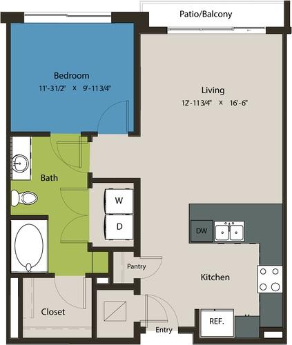 744 sq. ft. A8D-L1 floor plan