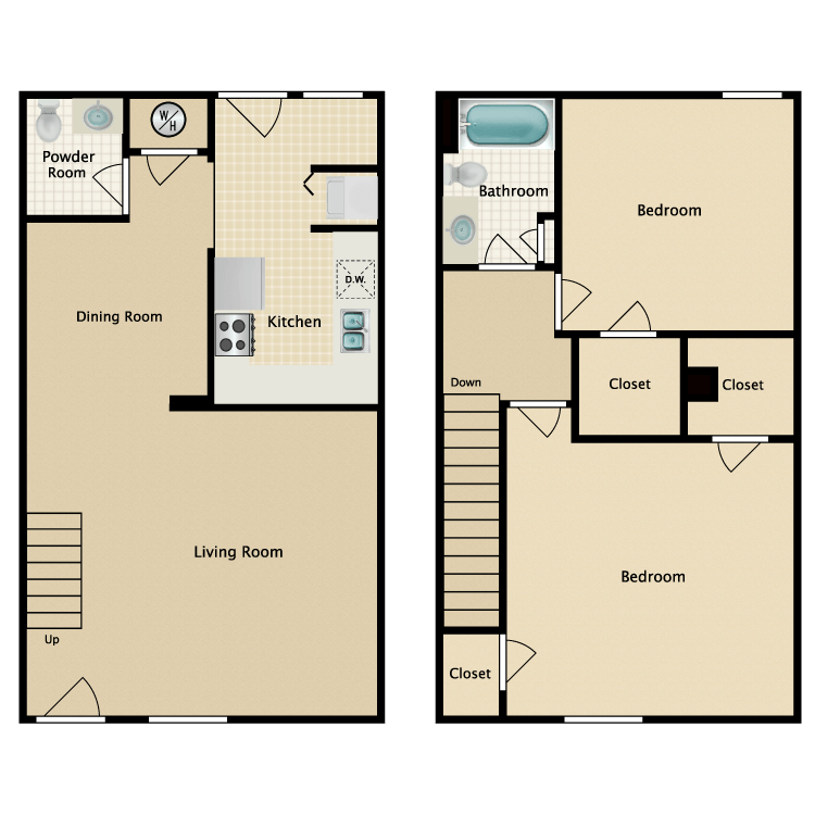 1,143 sq. ft. floor plan