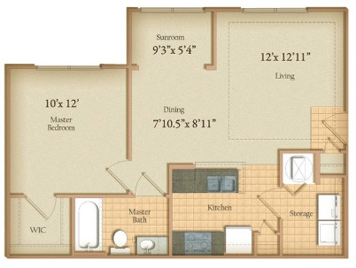 678 sq. ft. Arden floor plan