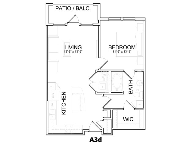 731 sq. ft. A3D floor plan