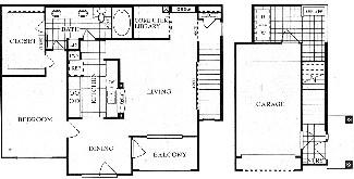 1,077 sq. ft. A5G floor plan
