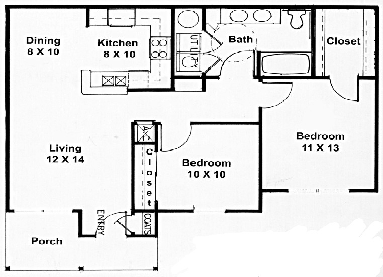 886 sq. ft. B floor plan