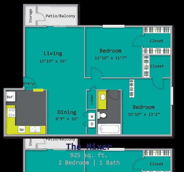 925 sq. ft. DUPLEX floor plan