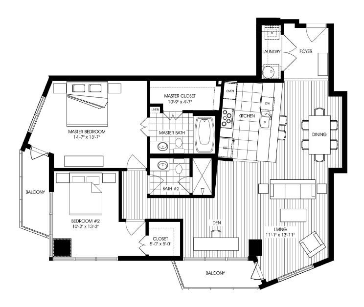 1,426 sq. ft. A4 floor plan