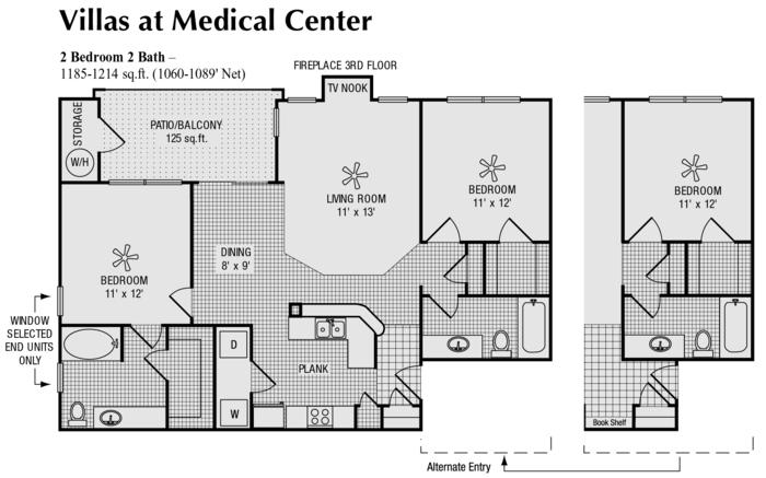 1,060 sq. ft. F floor plan