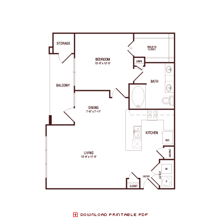 840 sq. ft. Post Oak floor plan